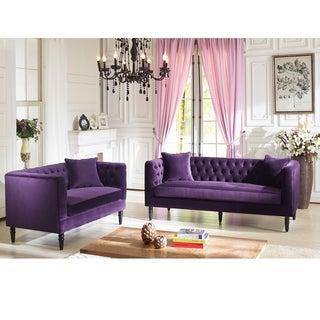 Flynn French Inspired Purple Velvet Upholstered Loveseat