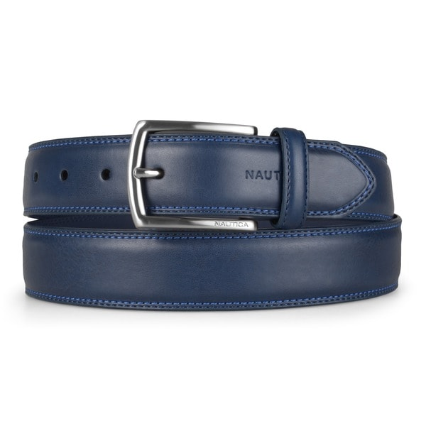 Nautica Men's Genuine Leather Double Stitched Belt