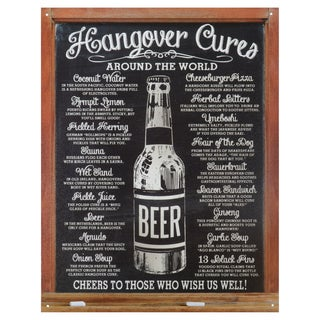 Vintage Metal Art 'Hangover Cures' Decorative Tin Sign