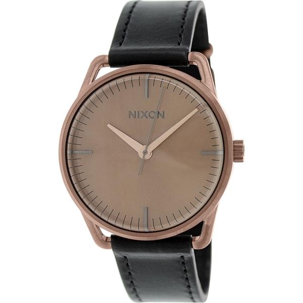 Nixon Women's Mellor A129734 Black Leather Quartz Watch
