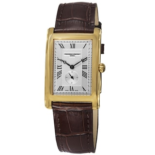 Frederique Constant Women's 'Classics' Silver Dial Brown Leather Strap Watch