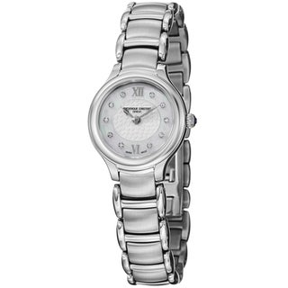 Frederique Constant Women's 'Slim Line' Mother of Pearl Dial Stainless Steel Watch