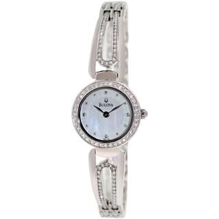 Bulova Women's Crystal 96L126 Silvertone Brass-plated Stainless Steel Quartz Watch