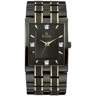 Bulova Men's Diamond 98D004 Black Two-tone Stainless Steel Quartz Watch