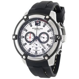 Stuhrling Original Men's Victory Quartz Chronograph Watch with Rubber Strap - silver