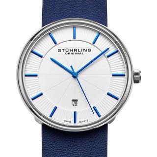 Stuhrling Original Men's Fairmount Swiss Quartz Leather Strap Watch