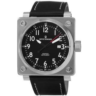 Revue Thommen Men's 16576.2137 'Air speed' Black Dial Black Leather Strap Automatic Watch