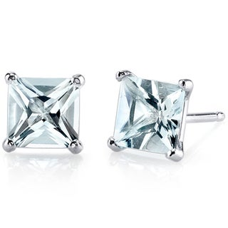 Oravo 14k White Gold Princess-cut Gemstone Stud Earrings