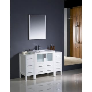 Fresca Torino 54-inch White Modern Bathroom Vanity with 2 Side Cabinets and Undermount Sink