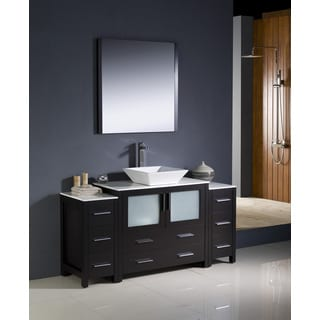Fresca Torino 60-inch Espresso Modern Bathroom Vanity with 2 Side Cabinets and Vessel Sink