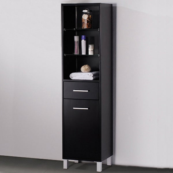 Fresca Espresso Bathroom Linen Side Cabinet with 3 Open Shelves