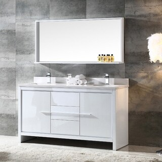 Fresca Allier 60-inch White Modern Double Sink Bathroom Vanity with Mirror