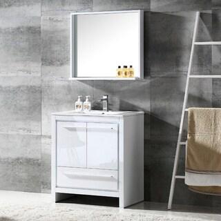 Fresca Allier 30-inch White Modern Bathroom Vanity with Mirror