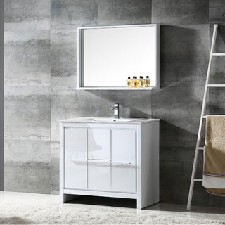 Fresca Allier 36-inch White Modern Bathroom Vanity with Mirror
