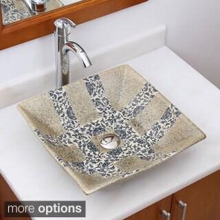 Elimax's 2029+882002 Squar Blue and Grey Glaze Porcelain Ceramic Bathroom Vessel Sink with Faucet Combo