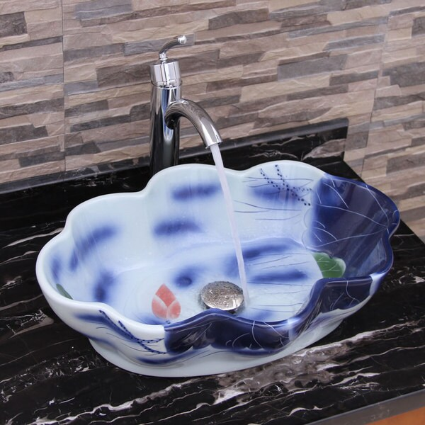 Blue And White Vessel Sink : ... Blue and White Porcelain Ceramic Bathroom Vessel Sink with Faucet
