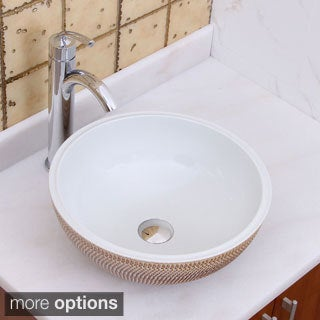Elimax's 2028+882002 Ocher and White Porcelain Ceramic Bathroom Vessel Sink with Faucet Combo
