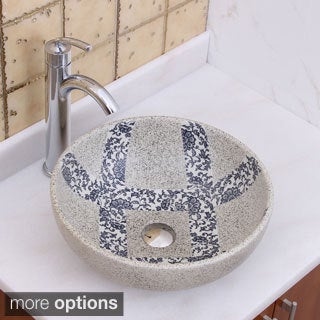 Elimax's 2024+882002 Blue and Grey Glaze Porcelain Ceramic Bathroom Vessel Sink with Faucet Combo