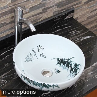 Elimax's 2017+882002 Oriental Bamboo Style Porcelain Ceramic Bathroom Vessel Sink with Faucet Combo