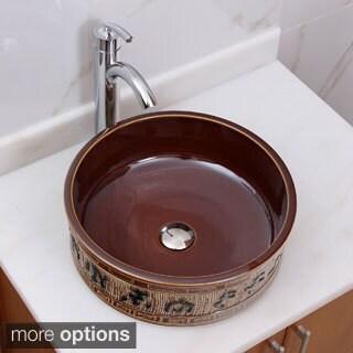 Elimax's 2015+882002 Oriental Bronce Porcelain Ceramic Bathroom Vessel Sink with Faucet Combo