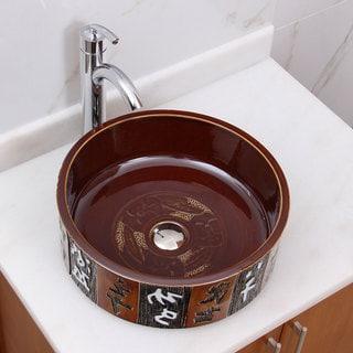 Elimax's 2014+882002 Oriental Bronce Porcelain Ceramic Bathroom Vessel Sink with Faucet Combo