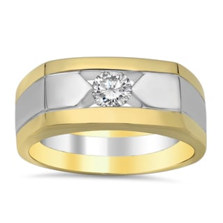 14k Two-tone Gold Men's 1/2ct TDW Diamond Wedding Ring (E-F, SI1-SI2)
