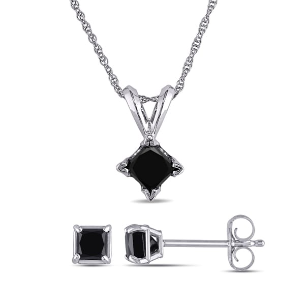 Miadora 10k White Gold 1ct TDW Black Princess-cut Diamond Solitaire Earrings and Necklace Set