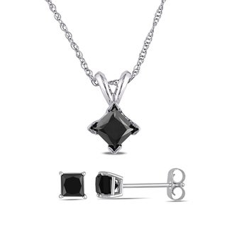 Miadora 10k White Gold 1 1/2ct TDW Black Princess-Cut Diamond Solitaire Earrings and Necklace Set