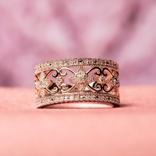 2-Tone Vintage Filigree 1/4ct TDW Diamond Band in Sterling Silver by Miadora