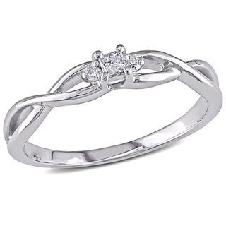 Miadora 10k White Gold TDW Princess-cut Diamond Accent 3-stone Engagement Ring (G-H, I2-I3)