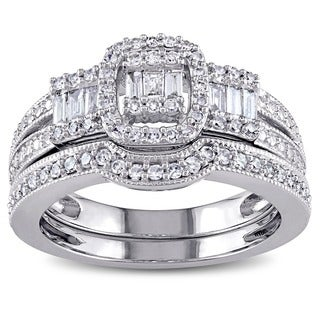Miadora 10k White Gold 1/2ct TDW Diamond Bridal Ring Set (G-H, I1-I2)