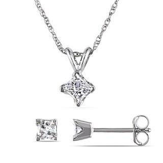 Miadora 14k White Gold 5/8ct TDW Princess-cut Diamond Solitaire Earrings and Necklace Set (I-J, I2-I3)