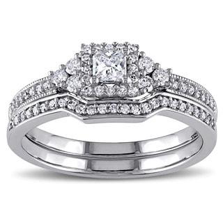 Miadora 14k White Gold 5/8ct TDW Princess-cut Diamond Certified Bridal Ring Set (G-H, I1-I2) (IGL)