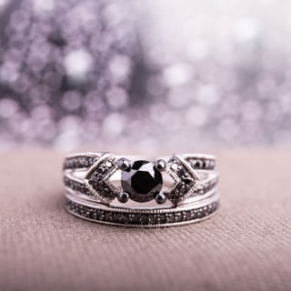Miadora Sterling Silver 1 1/8ct TDW Black Diamond Bridal Ring Set