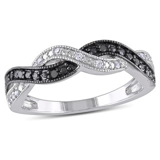 Miadora Sterling Silver Black and White Diamond Infinity Cross Over Ring