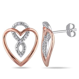 Haylee Jewels Two-tone Sterling Silver Diamond Accent Heart Infinity Earrings