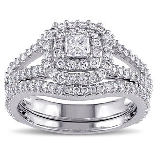 Miadora Signature Collection 14k White Gold 1 1/5ct TDW Princess-cut Diamond Double Halo Bridal Ring Set (G-H,I1-I2)