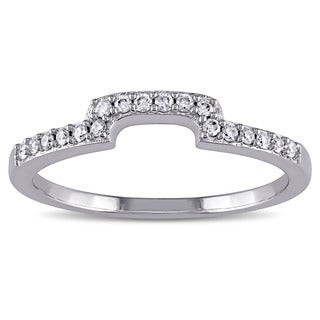 Miadora 10k White Gold 1/6ct TDW Diamond Contour Wedding Band (G-H, I1-I2)