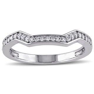 Miadora 14k White Gold 1/5ct TDW Diamond Curved Wedding Band (G-H, I1-I2)