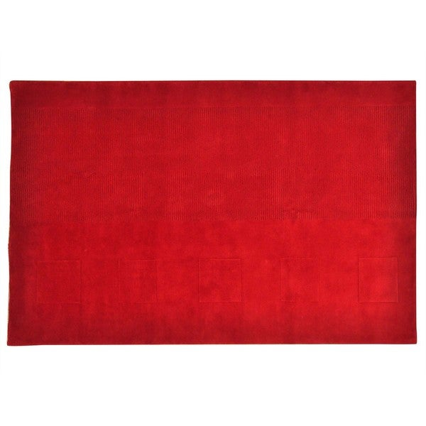 Handmade Wool Oriental Red Rectangle Rug (5'7 x 8'7)