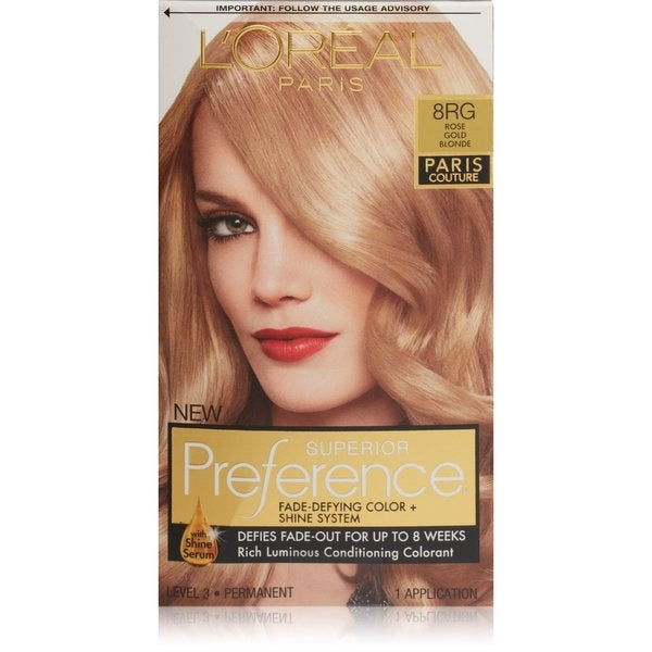 L'oreal Paris Couture Rose Golde Blonde 8RG Superior Preference Hair Color