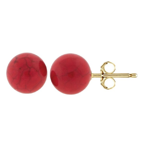 14k Yellow Gold Coral Ball Stud Earrings