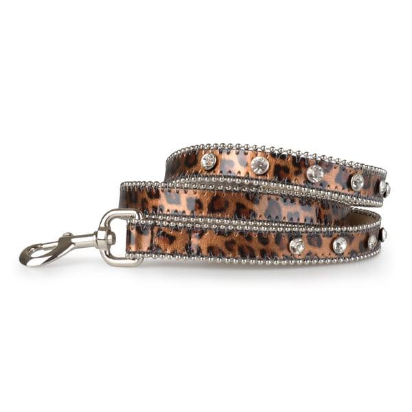 Journee Pet Rhinestone Animal Print Leather Dog Leash