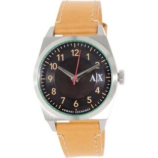 Armani Exchange Men's Brown Leather Quartz Watch