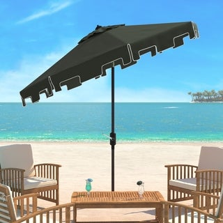 Safavieh Zimmerman Black Aluminum Tilt and Crank 9-foot Crank Market Patio Umbrella With Flap