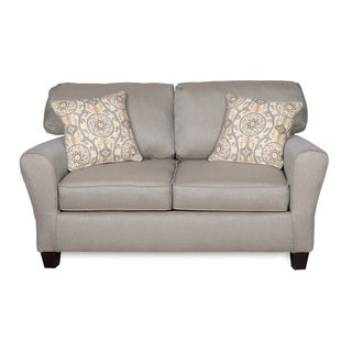 Sofab Brooke Dove Love Seat With Two Reversible Accent Pillows