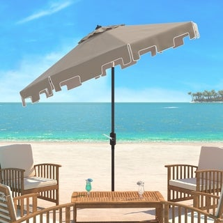 Safavieh Zimmerman Beige Aluminum Tilt and Crank 9-foot Crank Market Patio Umbrella With Flap