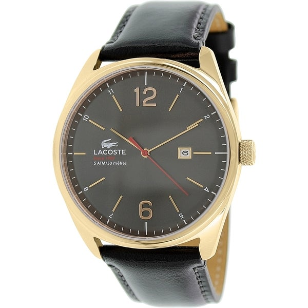 Lacoste Men's Black Leather Quartz Watch