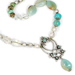 Sweet Romance Pewter Silver Trellis Gemstone Necklace