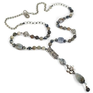 Sweet Romance Labrador and Agate Silver Boho Y Necklace
